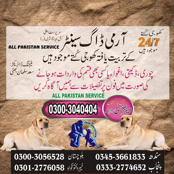 Army Dog Center Over All Pakistan Best Service