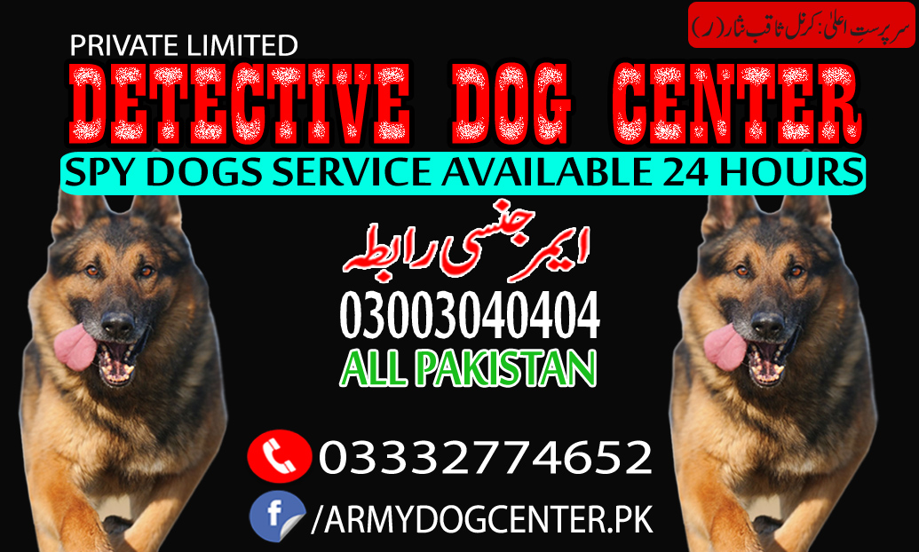 Army Dog Center Rawalpindi, Faisalabad, Karachi, Lahore, Okara, Multan
